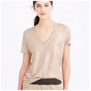 J. Crew Gold Metallic Linen V Neck Pocket T Shirt
